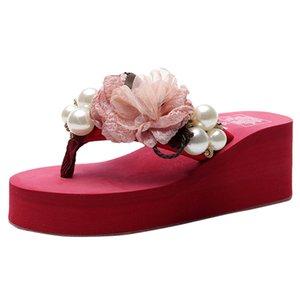 SAGACE Women Summer Solid Color Wild High-Heel Flip Flops Beading Beach Wedges Thick Bohemian Style Slippers Bottoms Flower Shoe