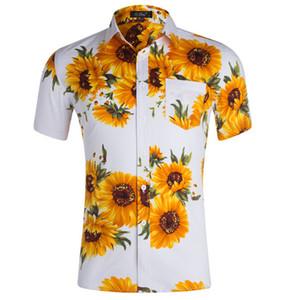 Tournesol Imprimé Hommes Chemises Designer manches courtes adolescents Chemises TURN-Col Hauts d'été Vêtements décontractés pour hommes