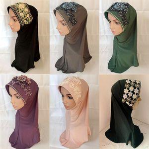Fashion Muslim Women Ladies Hijab Embroidery Flower Instant Headscarf Islamic Scarf Turban Headwrap Arab Amira Cap Shawls