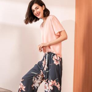 Kadınlar Yaz Short için Pamuk Pijama Takımı Pijama Moda Baskı Gecelik En Pant Jogger Loungewear Homewear Ev Giyim Pijama
