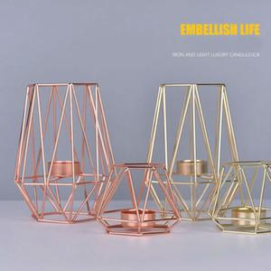 Nordic Style Geometrische Kerzenhalter Metall Golden Eisen Kerzenständer Roségold Europäischen romantische Kerze Tasse Home Tischdekoration