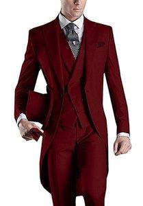 Matin style Groomsmen pic Lapel smokings marié Bourgogne hommes Costumes de mariage / robe de bal / dîner Best Man Blazer (veste + pantalon + veste + Tie) B468