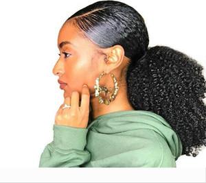 Afro Kinky завитые Ponytail 4B 4C 1 шт клип в Ponytails человеческих волос Natural Black 1b с шнурком