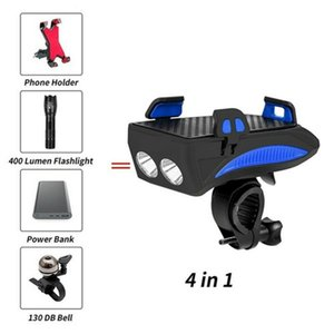 2000 4000LM Bicycle Light USB Rechargeable LED Bike Head Lamp Bike Horn Phone Holder Powerbank 4 in 1 MTB Cycling Front Light