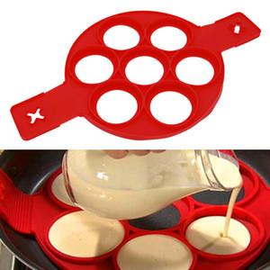 7 Löcher Pfannkuchen Silikonform Circular Spiegelei Formen Nonstick Flip Pancake Maker Omelett Ei Formen Ringe Form Ei Werkzeuge