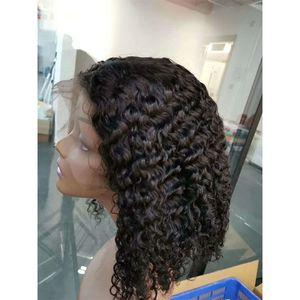 Pelucas delanteras del cordón del pelo humano de la Virgen de Malasia Bob peluca 13X4 tamaño onda profunda rizado Color Natural Bob peluca delantera del cordón