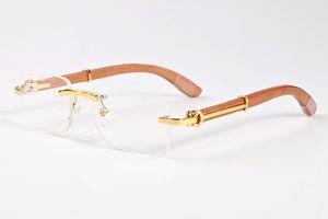De marcas de lujo gafas sin montura diseñador para los hombres 2017 vidrios de madera del cuerno de la moda retro de bambú búfalo negro marrón claro gafas de sol lente de cristal