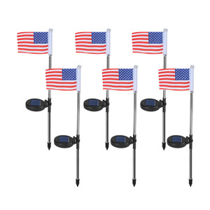 US Flag Solar Powered Garden Stake Light American Flag Pathway Lights Solar Flag Lights with Metal Pole Stake