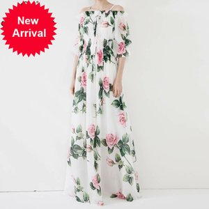 QHZ 2020 fashion summer Maxi dress Women Slash neck sexy chiffon boho long dress элегантный цветочный принт длиной до пола пляжное платье