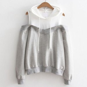 Spring Autumn Lovely Casual Newly Women Ladies Long Sleeve Hooded Off Shoulder Color Patchwork Pullover Hoodies Shirt Tops