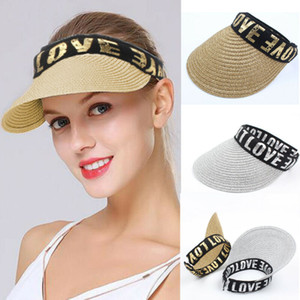 Le donne Wide Brim Visor Cap Lady spiaggia di estate paglia Clip On Cappello per il sole Tennis Golf