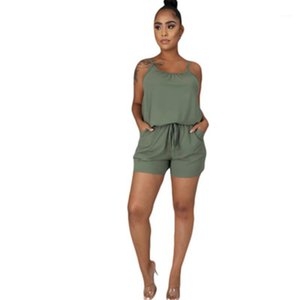 Fashion Solid Color Loose Casual Sport Sleeveless Female Rompers Suits Womens Clothing Tracksuits Suspender Top Shorts Womens Sets Designer