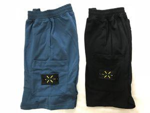 Pantaloncini da spiaggia in materiale americano da uomo pantaloni sportivi retrò da uomo in cotone blu con cravatta corta logo ricami estivi strada esplosioni cinque pantaloni