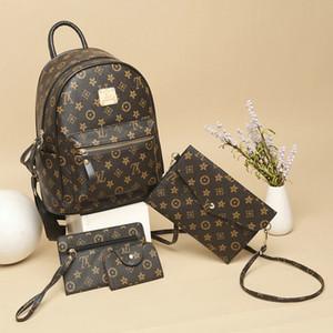 4шт / комплект Роскошные сумки Женщины Рюкзак 2019 Кошелек моды сумка плеча рюкзак PU кожаный дамы рюкзак путешествия мешок женщин сумки