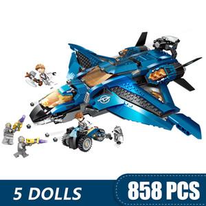 kız erkek çocuklar için Legoing Avengers Ultimate Quinjet Marvel Süper Kahramanları Hediye ile uyumlu 858PCS Küçük Yapı Taşları Oyuncak DIY