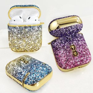 Luxury Design Gradient Rainbow Shiny Electroplate Rhinestone Earphone Case For Airpods 1 2 3 Bluetooth Headphone Cover iPhone 11 Pro XS Case