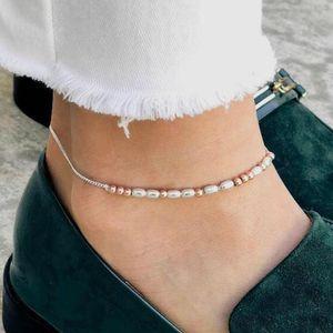 Bohemian ручной работы Рисовые шариков цепи регулируемый ножные браслет цепи ножные Босиком Сандал Пляж Foot для женщин Lady