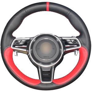 Rouge Cuir naturel en cuir noir naturel rouge Marqueur couverture de volant de voiture pour Porsche Macan Cayenne 2015 2016