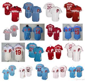 Jersey de la vendimia Dykstra Darren Daulton Mike Schmid Luzinski Steve Carlton Pete Rose Tug McGraw retro camisetas de béisbol