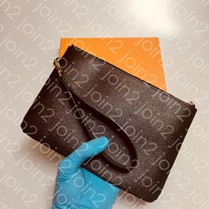 CITY POUCH Moda de alta calidad para mujer diario Wristlet bolso del teléfono celular accesorios Pochette embrague marrón impermeable a cuadros lienzo M63447