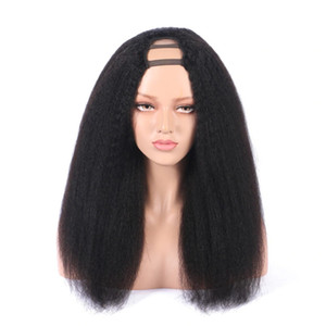 Kinky Straight Middle U Part Human Hair Wigs 180% High Density Brazilian Remy Hair Wig Medium Size Cap Free Shipping