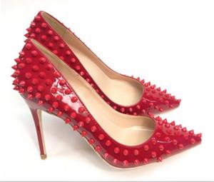 새로운 유형 화이트 Riveted 여성 하이힐 신발 Cusp 싱글 슈즈 파인 힐 8cm 12cm 10cm 4 색 결혼식 연회장 레드 하단 대형 45