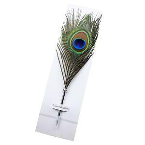 Tüy Tükenmez Kalem Renkli mürekkep Kalem Kırtasiye Peacock Feather Şekli Kalem İçin Bireysellik Öğrenci Noel Doğum Hediye DHL