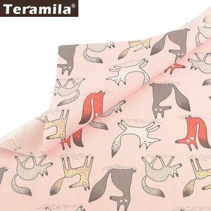 Teramila Foxes Diseño Animal 100% Tela de Algodón Rosa Tecido Bricolaje Patchwork Almohada Tela Acolchada Costura Textiles para el Hogar Sábana