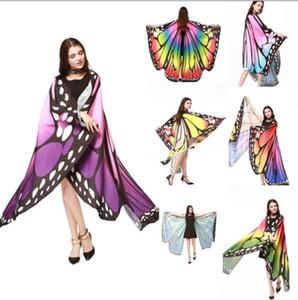 Femmes Mode Femmes coloré long cou d'aile de papillon Cape élégante écharpe douce Pashmina