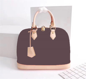 ALMA BB Frauen braun Checker Schultertaschen Umhängetasche Handtasche Geldbeutel Echte Leder M53152 klassischer Stil braun Blume Tote