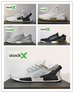 (box)design NmD R1 V2 Japan iridescent runnig shoes triple black white red blue cool grey metallic silver men women trainer casualsneakers