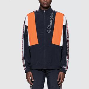 Дизайнерский бренд мужских женских курток весна осень Ветроломных полосы Активной Верхняя одежда Zipper отворот шея контрастного цвет куртка Top B101610V качество