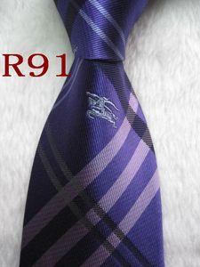 R91 # 100% corbata de seda jacquard tejidas hechas a mano corbata de los hombres - -hangtong696 púrpura