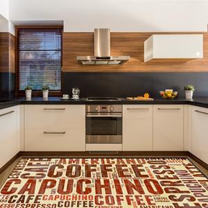 Else Big Brown Coffee Writen Capuchino Espresso 3d Print Non Slip Microfiber Kitchen Modern Decorative Washable Area Rug Mat