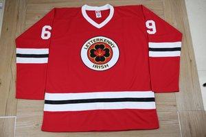 Serie de TV Letterkenny irlandesa # 69 Shoresy White Bule Black Red Hockey Jersey Bordado Pedidos de bordado Personalice cualquier número y nombres Jerseys