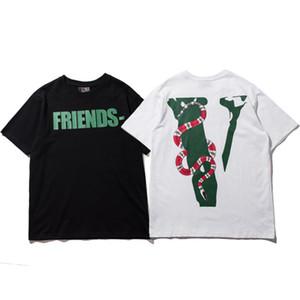 Vlone Mens Designer T-shirt Homme Femme de haute qualité Hip Hop T-shirt imprimé serpent Vlone T-shirts Taille S-2XL