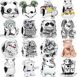 Fehmi% 100 925 Gümüş Ayı Köpek Tavşan Panda Fare OWL Gergedan Alien Maymun LionGlamour Gül Charm Moda Boncuklu Hediye
