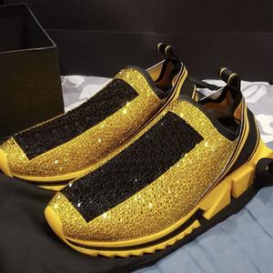 Homens Designer Sorrento Tênis Com Strass Cristais Slip-on Sneakers Trecho Malha Meias Sapatilhas Glitter Runner Formadores Planas US5-12