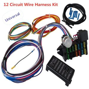 지도 워크 램프에 대한 Kuulee 12 회로 배선 하네스 근육 자동차 핫로드 스트리트로드 XL 와이어 하네스 릴레이 베틀 케이블 키트