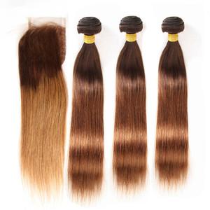 Brown a Auburn Ombre malesi umani del Virgin trame dei capelli 3Bundles con chiusura # 4/30 medie Auburn Ombre Tessiture capelli con 4x4 chiusura del merletto