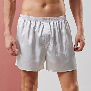 Men Pure Color Silky Faux Satin High Quality Pajama Shorts Summer Men Sleepwear Comfort Homewear Short Underwear Soft Sleeping