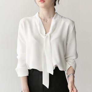 Fabric Name: Chiffon Sleeve length: long s spring long-sleeved V-neck ribbon chiffon shirt loose thin solid color shirt Korean shirt female