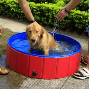 SMARTPET PVC Foldable Pet Dog Cat Swimming Pool PVC Washing Pond Dog Tub Bed Large Small Dog Swimming House Bed Summer Pool