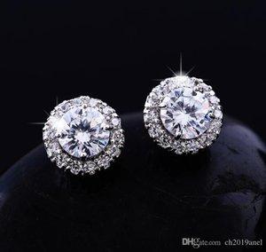 Stud Earrings Full Diamond Round Stud Earrings Zircon Stud Earrings Full Diamond Earring Plating wedding supplies wedding