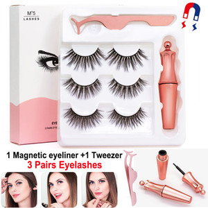 Magnetic Eyelashes with Eyeliner and Tweezer 3 Pairs 5 Magnetic False Eyelashes Liquid Eyeliner Makeup Set Reusable eyelash No Glue Needed