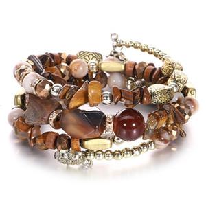 Новый год сбора винограда способа кристаллический Многослойные обмотки Браслет из природного камня Бусины дизайнерские браслеты для женщин ювелирных изделий подарок