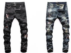 2020 New Fashion Men Blue Bleach Jeans Tidy Biker Denim Jean Paint Spot Damage Slim Fit Distressed Hip Hop mens skinny jeans