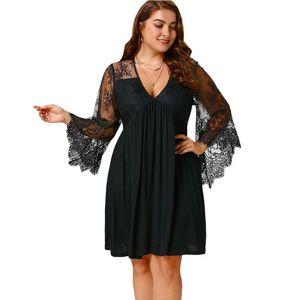 Rosegal платье женщин плюс размер 5xl сексуальный топ Flare Shell рейх Taille платье Tunika 2018 осень свободного покроя Vestido де феста большой размер Y19070901