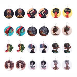 Afro Деревянные Серьги Печати Африканская Голова Красочные Eardrop Wood Круглые Серьги Обруча Шарма Для Женщин Леди Ювелирные Изделия