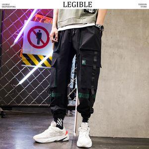 Pantalones LEGIBLES Cinturón de Carga Hombres Hombres Streetwear Joggers Hip Hop pantalones masculinos bolsillos pantalón 3XL Negro Ropa